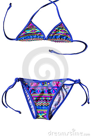 Free Colorful Two Piece Kids Swimsuit With Stripes Royalty Free Stock Images - 98991519