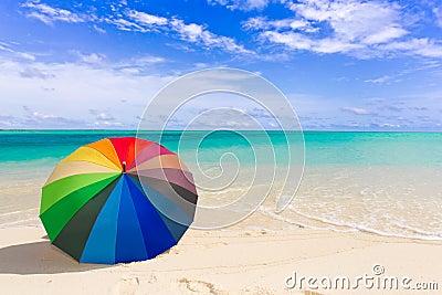 Colorful umbrella on the beach