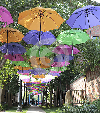 Free Colorful Umbrella Walkway, Marquette, Michigan Royalty Free Stock Photography - 99117057