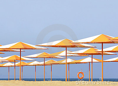 Colorful umbrellas on beach
