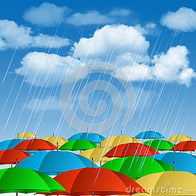 Colorful umbrellas in rain. Vector Illustration