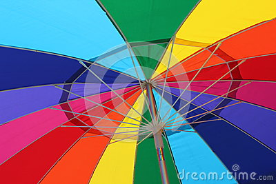Colorful underside of an summertime umbrella