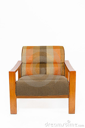 Colorful upholstery wooden armchair