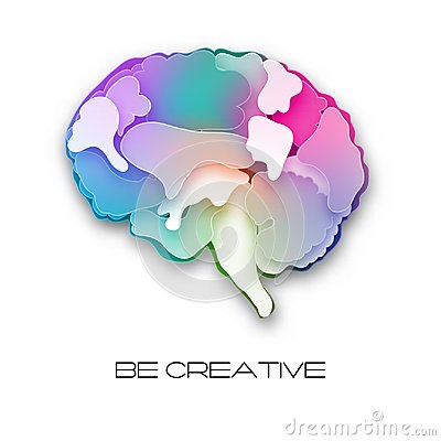 Free Colorful Vector Brain Illustration, Layered Cut Out Stock Photo - 109144920