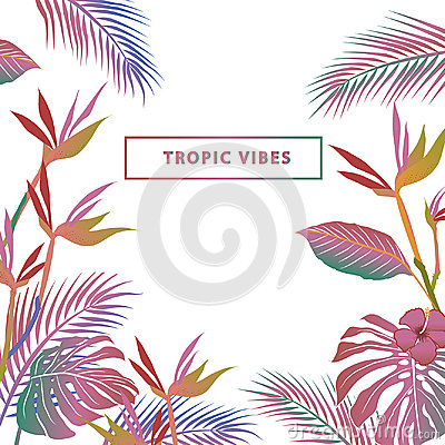 Free Colorful Vector Composition Of Tropical Leaves Color Beach Wallp Royalty Free Stock Images - 98430469