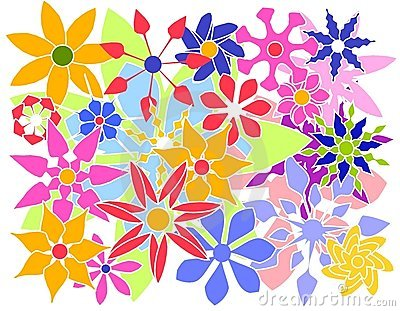 Colorful Vector Flowers Group
