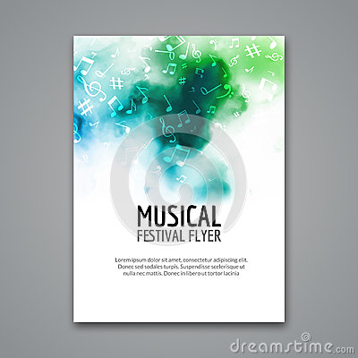 Colorful vector music festival concert template flyer. Musical flyer design poster with notes Vector Illustration