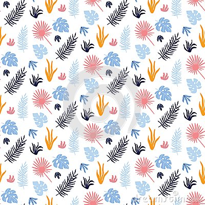 Free Colorful Vector Seamless Pattern With Tropical Leaves. Royalty Free Stock Photography - 115941187