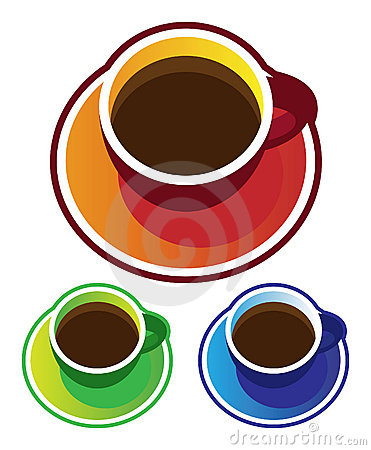Colorful vectors: coffee cups top view