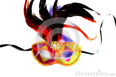 Colorful venetian mask on white background