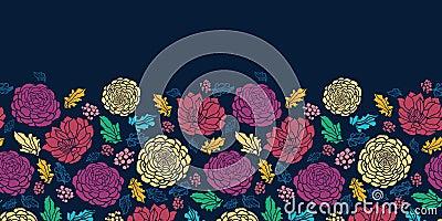 Colorful vibrant flowers on dark horizontal