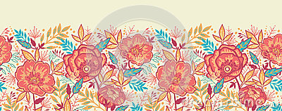 Colorful vibrant flowers horizontal seamless