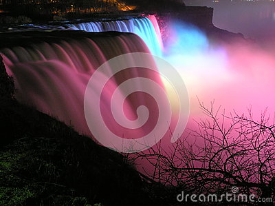 Colorful view of The American Falls at night, Niagara Falls