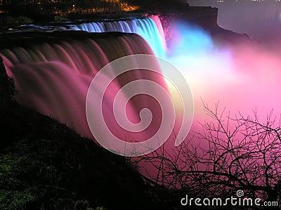 Colorful view of The American Falls at night, Niagara Falls