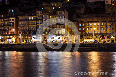 Colorful view at twilight along the riverfront with lights reflecting in the Douro River Editorial Stock Image