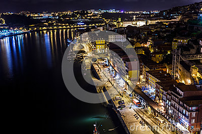 Colorful view at twilight of the riverfront with lights reflecting in the Douro River Editorial Stock Image
