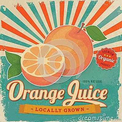 Free Colorful Vintage Orange Juice Label Poster Stock Images - 39698594