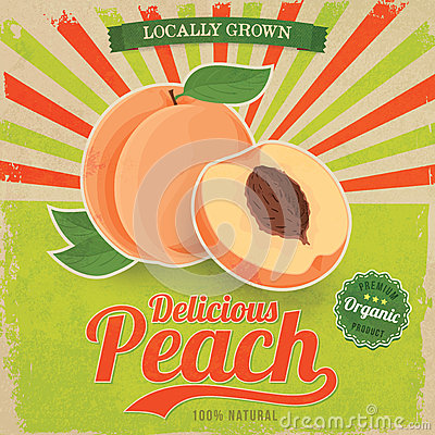 Free Colorful Vintage Peach Label Poster Vector Royalty Free Stock Images - 39698569