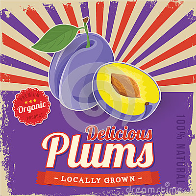 Free Colorful Vintage Plums Label Poster Royalty Free Stock Photography - 40117387