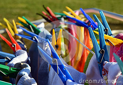 Colorful washing clothes pegs