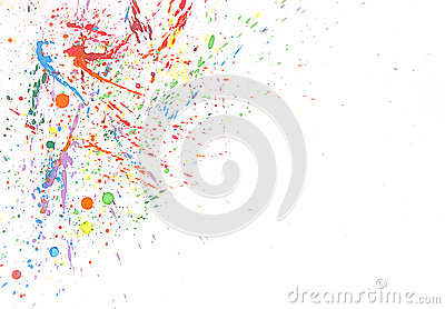 Colorful water color splash on white background