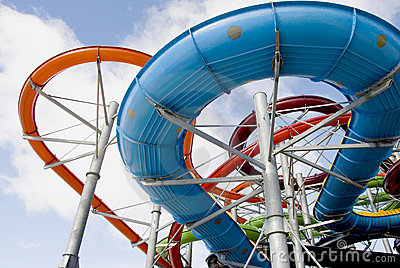 Colorful water park tubes
