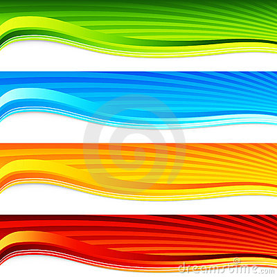 Colorful Wave Sunrise Banner Set