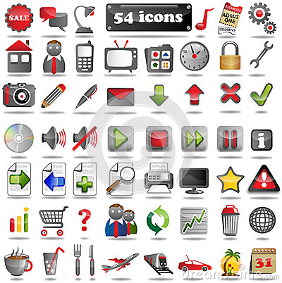 54 colorful Web Icons
