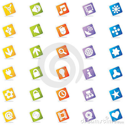 Free Colorful Web Icons (Vector) Royalty Free Stock Photography - 2102797