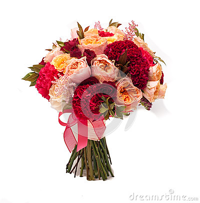 Colorful wedding bouquet on white background