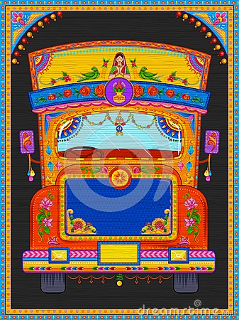 Free Colorful Welcome Banner In Truck Art Kitsch Style Of India Stock Photo - 103734820