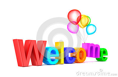 Colorful Welcome Word With Balloons On White Background Royalty Free ...