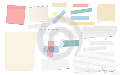 Colorful and white adhesive, sticky, masking, duct tape pieces torn note, notebook paper for text are isolated on white Vector Illustration