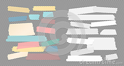 Colorful and white ripped sticky, adhesive masking tape, note paper strips stuck on squared gray background Vector Illustration
