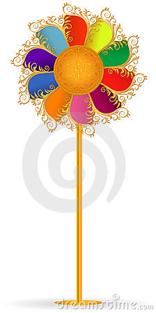Colorful windmill, ornamented,