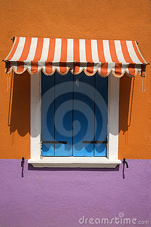 Free Colorful Window With Awning Stock Images - 12979744