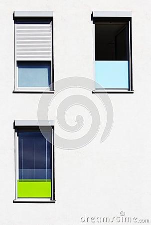 Colorful windows, minimalistic design architecture
