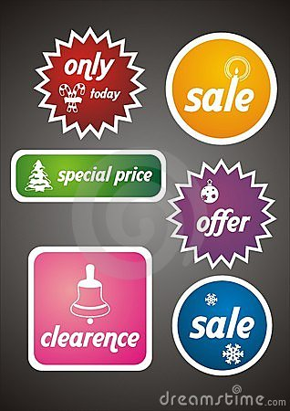 Colorful Winter Sale Tags and Stickers Set