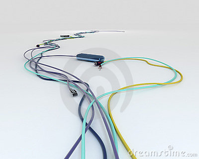 Colorful wires with jacks - shpae of heart