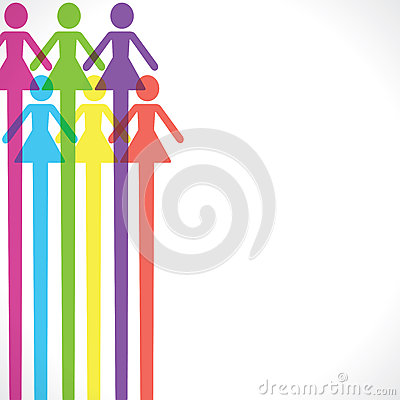 Colorful woman icon background