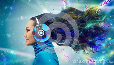 Colorful women in headphones