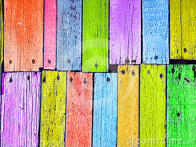 Colorful wood board nailed