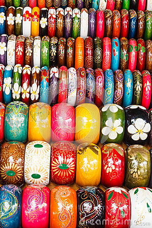 Colorful wooden hand-painted bracelets