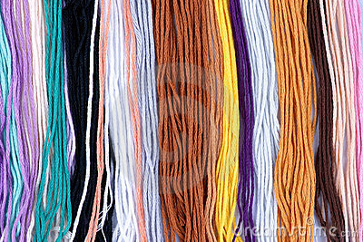 Colorful woolen yarn background