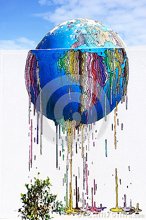 Free Colorful World Melting - Graffiti Street Art, Djerba Island, Tunisia Royalty Free Stock Image - 92550506