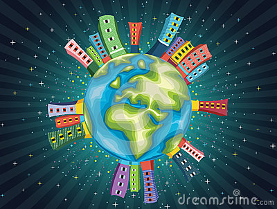 Colorful World Night Vector Illustration
