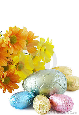 Free Colorful Wrapped Chocolate Easter Eggs Stock Photography - 4435892