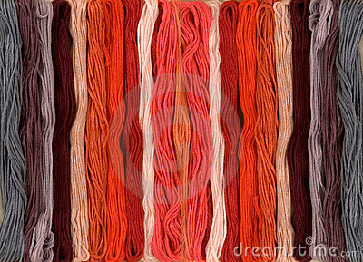 Colorful yarn on a white background