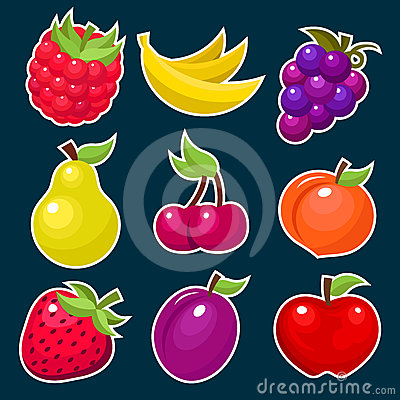 Colorful Yummy Fruit Icons.