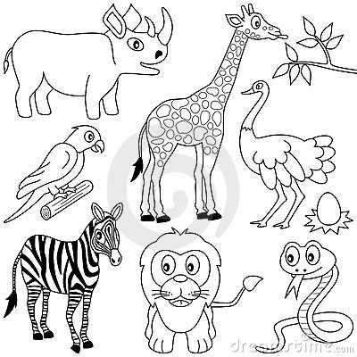 Free Coloring African Animals [1] Stock Photo - 16167370